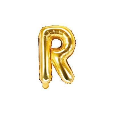 Ballon Feuille Lettre R 35cm doré