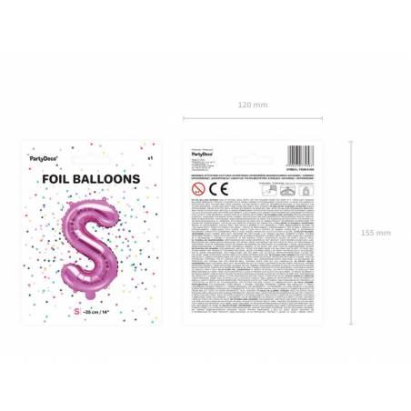 Ballon en aluminium lettre S 35cm rose foncé