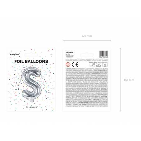 Ballon en aluminium lettre S 35cm argent