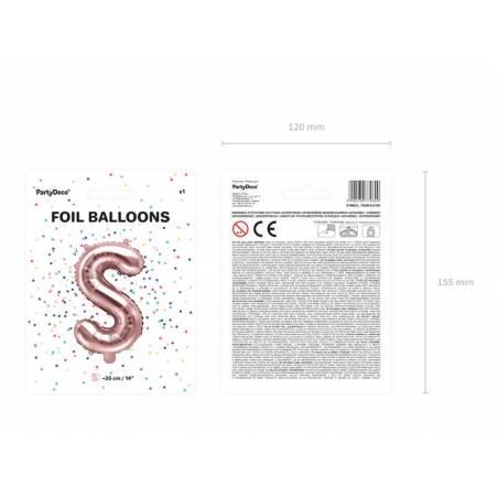 Ballon en aluminium lettre S 35cm or rose
