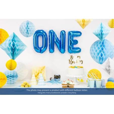 Ballon en aluminium lettre T 35cm bleu