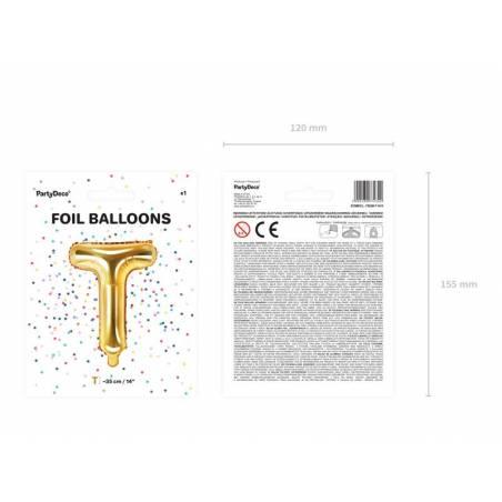 Ballon en aluminium lettre T 35cm doré