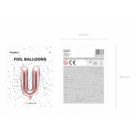 Ballon Feuille Lettre U 35cm or rose