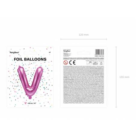 Ballon en aluminium lettre V 35cm rose foncé