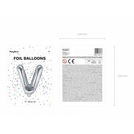 Ballon en aluminium lettre V 35cm argent
