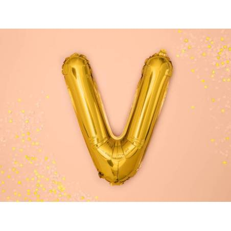Ballon en aluminium lettre V 35cm doré