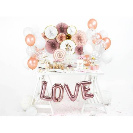 Ballon d'aluminium lettre V 35cm or rose