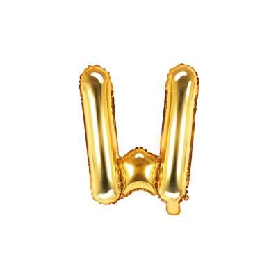 Ballon Feuille Lettre W 35cm doré
