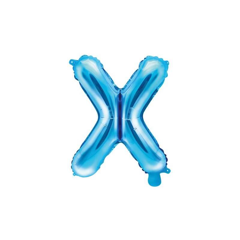 Ballon Feuille Lettre X 35cm bleu