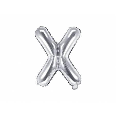Ballon Feuille Lettre X 35cm argent