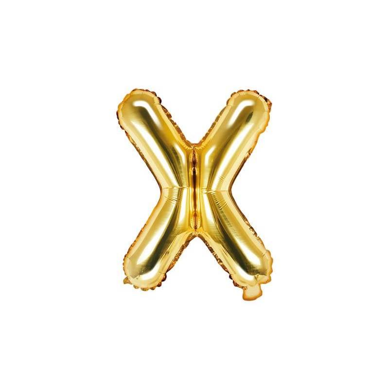 Ballon Feuille Lettre X 35cm doré