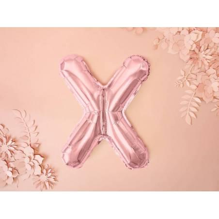 Ballon Feuille Lettre X 35cm or rose