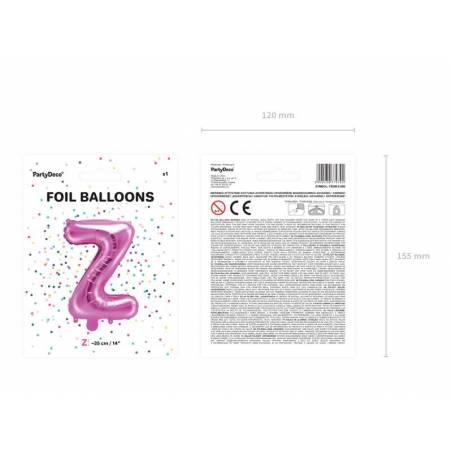 Ballon en aluminium lettre Z 35cm rose foncé