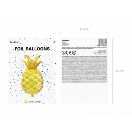 Ballon d'aluminium Ananas or 38x63cm