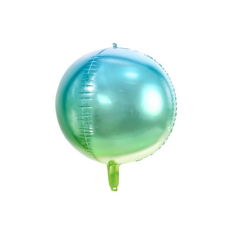 Ballon d'ombré en aluminium bleu et vert 35cm