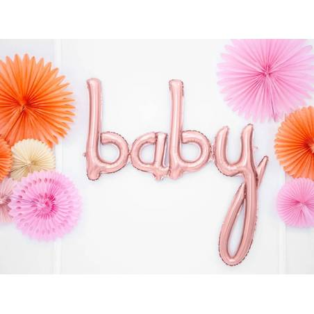 Ballon d'aluminium Baby or rose 73.5x75.5cm