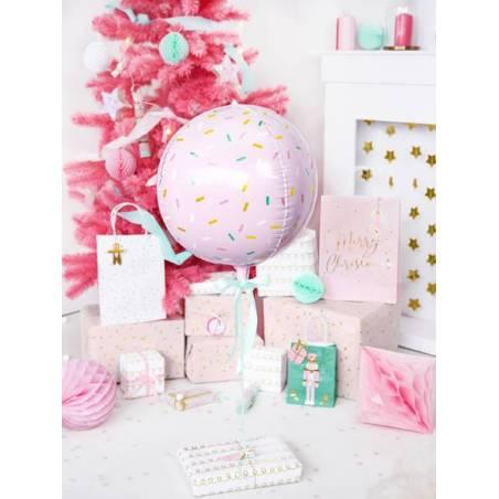 Ballon en aluminium Ball - Sprinkle 40cm rose pâle