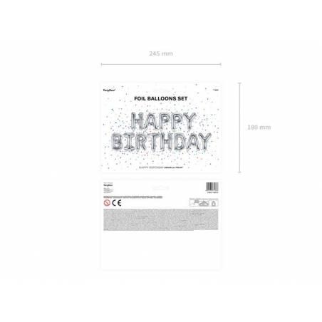 Ballon en papier joyeux anniversaire 340x35cm argent