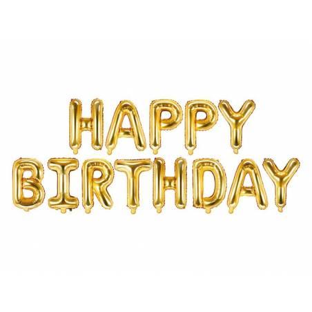 Ballon en papier joyeux anniversaire 340x35cm doré