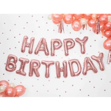 Ballon en papier joyeux anniversaire 340x35cm or rose