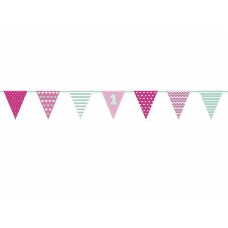 Guirlande en papier premier anniversaire rose et menthe 135 m