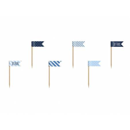 Petits drapeaux Cupcake Toppers petit avion mélanger 7cm