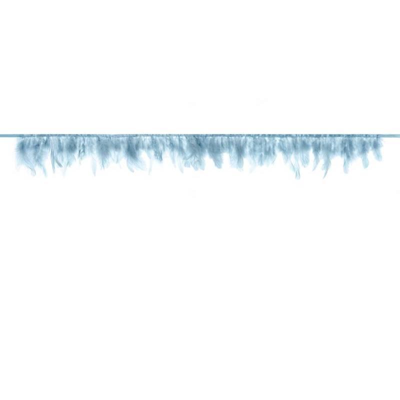 Guirlande de plumes bleu clair longueur 1m