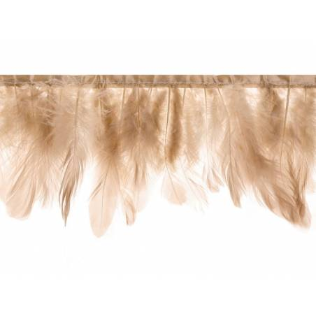 Guirlande de plumes beige rose longueur 1m