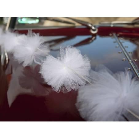 Guirlande Pompon Tulle blanche 2m