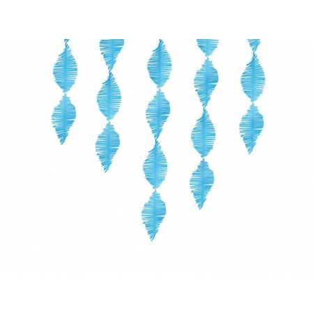 Guirlande à franges en papier crépon bleu 3m