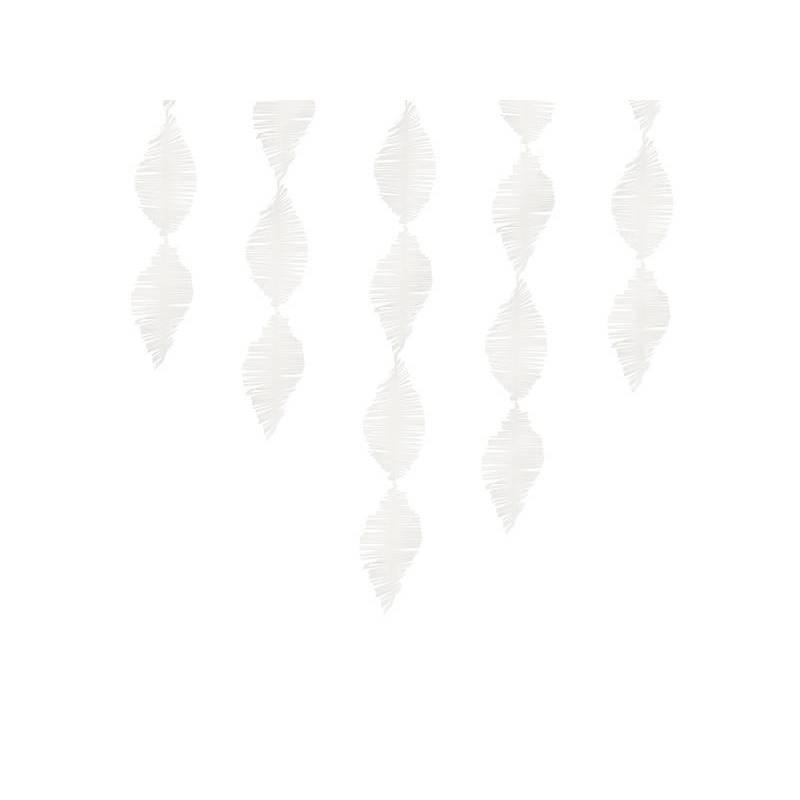 Guirlande à franges en papier crêpe blanc 3m