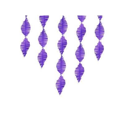 Guirlande à franges en papier crêpe violet 3m