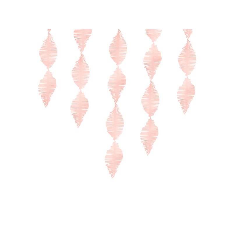 Guirlande à franges en papier crêpe rose clair 3m