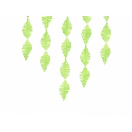 Guirlande à franges en papier crêpe pomme verte 3m