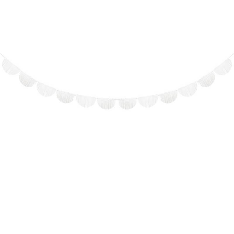 Guirlande à franges festonnées blanc 3m