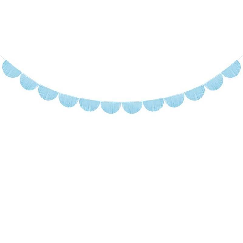 Guirlande à franges festonnées bleu ciel 3m