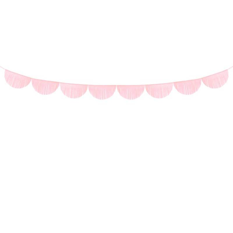Guirlande à franges festonnées rose clair 3m