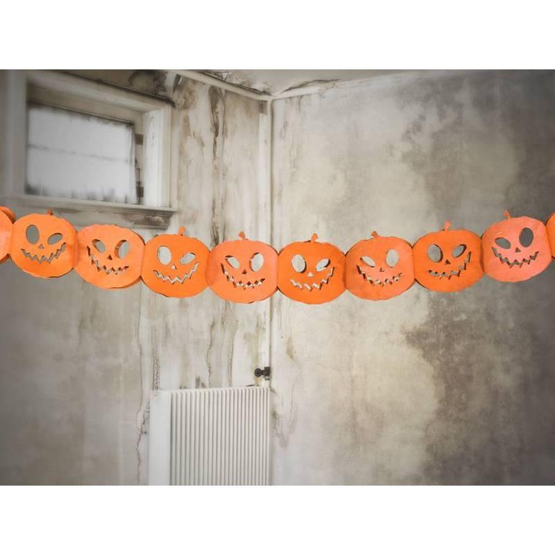 Guirlande de papier de soie Pumpkins orange 3m