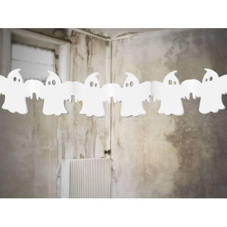 Guirlande de papier de soie Ghosts blanc 3m
