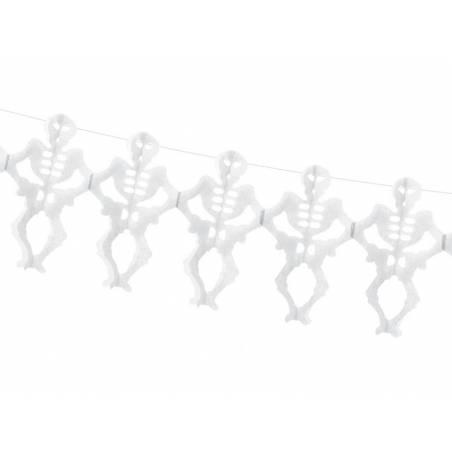 Guirlande de tissus Squelettes blanc 3m