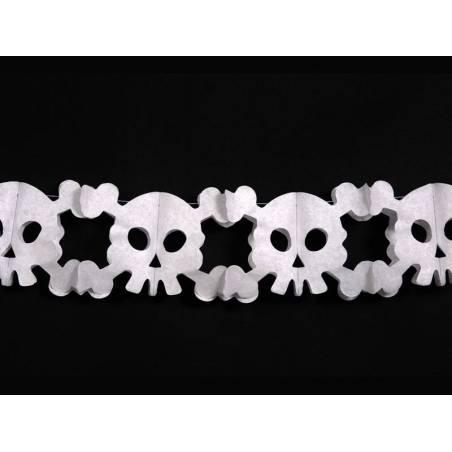 Guirlande de papier crânes blanc 3m