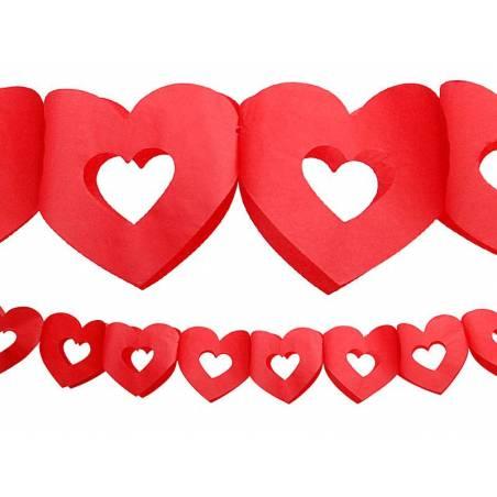 Guirlande de papier de soie Hearts rouge 3m