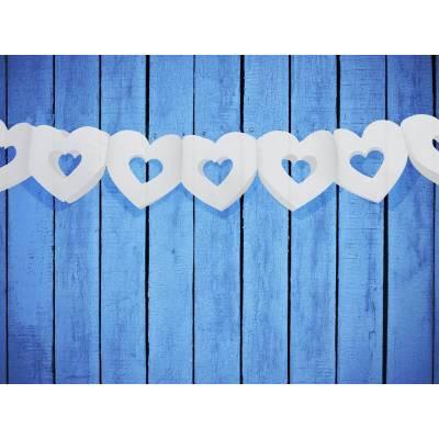 Guirlande de papier de soie Hearts blanc 3m
