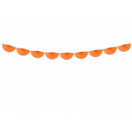 Guirlande de tissus Rosettes orange 3m