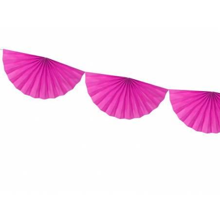 Guirlande de tissus Rosettes rose foncé 3m