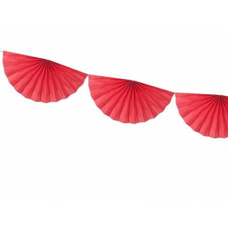 Guirlande de tissus Rosettes rouge 3m