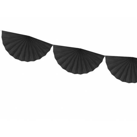 Guirlande de tissus Rosettes noir 3m