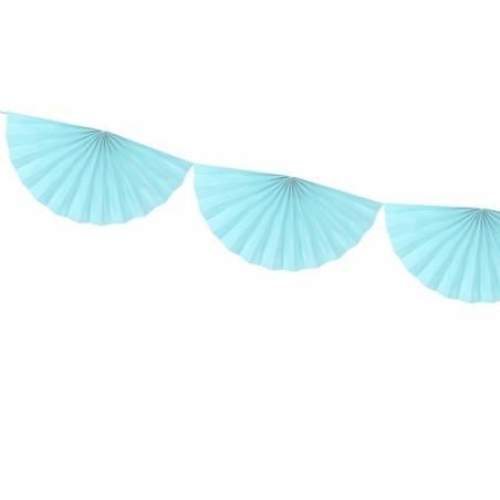 Guirlande de tissus Rosettes bleu ciel clair 3m