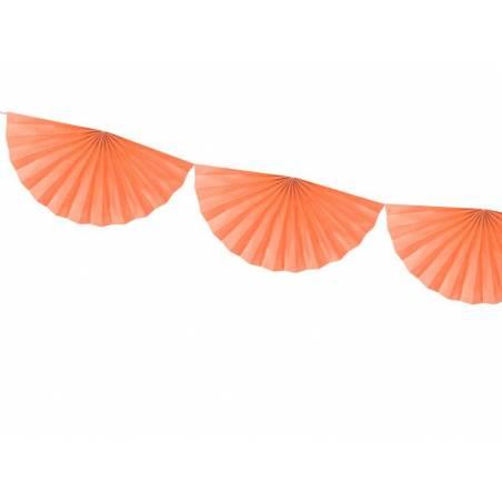 Guirlande de tissus Rosettes pêche 3m