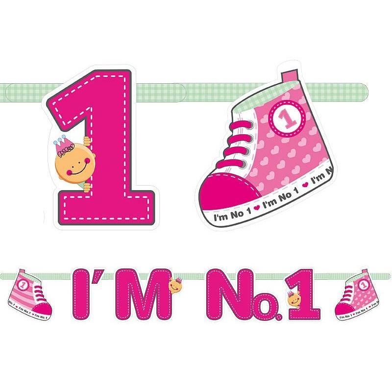 Bannière je suis n ° 1 rose 110cm